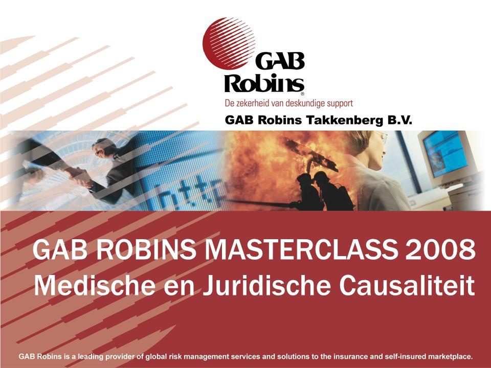 GAB ROBINS MASTERCLASS 2008 Medische en Juridische Causaliteit