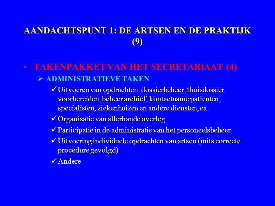 AANDACHTSPUNT 1: DE ARTSEN EN DE PRAKTIJK (9) TAKENPAKKET VAN HET SECRETARIAAT (4)  ADMINISTRATIEVE TAKEN Uitvoeren van opdrachten: dossierbeheer, thuisdossier voorbereiden, beheer archief, kontactname patiënten, specialisten, ziekenhuizen en andere diensten, ea Organisatie van allerhande overleg Participatie in de administratie van het personeelsbeheer Uitvoering individuele opdrachten van artsen (mits correcte procedure gevolgd) Andere