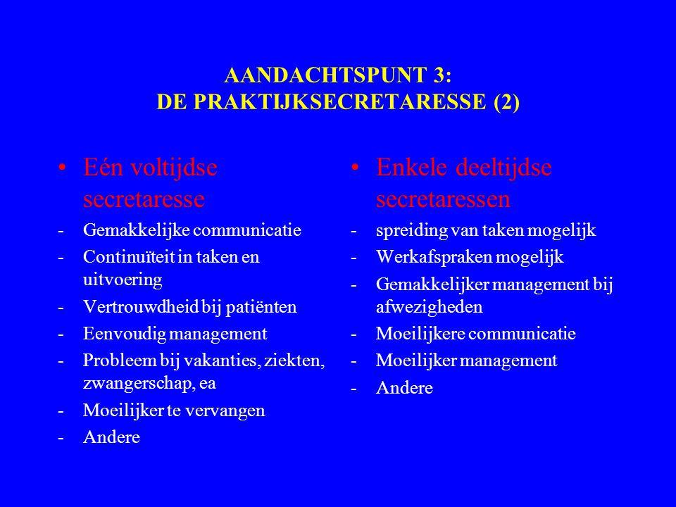 AANDACHTSPUNT 3: DE PRAKTIJKSECRETARESSE (2) Eén voltijdse secretaresse -Gemakkelijke communicatie -Continuïteit in taken en uitvoering -Vertrouwdheid bij patiënten -Eenvoudig management -Probleem bij vakanties, ziekten, zwangerschap, ea -Moeilijker te vervangen -Andere Enkele deeltijdse secretaressen -spreiding van taken mogelijk -Werkafspraken mogelijk -Gemakkelijker management bij afwezigheden -Moeilijkere communicatie -Moeilijker management -Andere