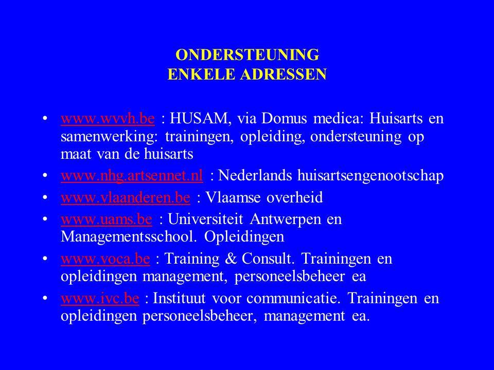ONDERSTEUNING ENKELE ADRESSEN www.wvvh.be : HUSAM, via Domus medica: Huisarts en samenwerking: trainingen, opleiding, ondersteuning op maat van de huisartswww.wvvh.be www.nhg.artsennet.nl : Nederlands huisartsengenootschapwww.nhg.artsennet.nl www.vlaanderen.be : Vlaamse overheidwww.vlaanderen.be www.uams.be : Universiteit Antwerpen en Managementsschool.