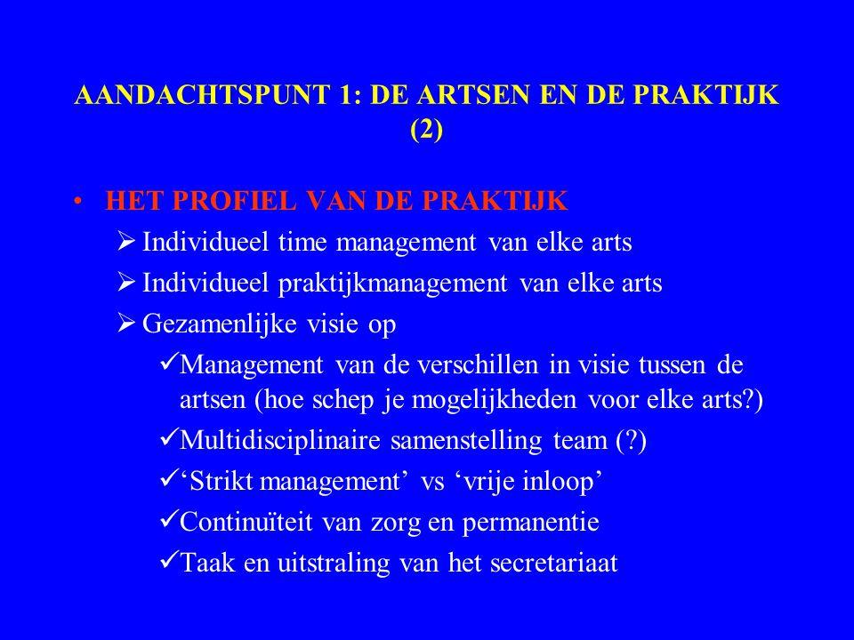 AANDACHTSPUNT 1: DE ARTSEN EN DE PRAKTIJK (2) HET PROFIEL VAN DE PRAKTIJK  Individueel time management van elke arts  Individueel praktijkmanagement van elke arts  Gezamenlijke visie op Management van de verschillen in visie tussen de artsen (hoe schep je mogelijkheden voor elke arts?) Multidisciplinaire samenstelling team (?) 'Strikt management' vs 'vrije inloop' Continuïteit van zorg en permanentie Taak en uitstraling van het secretariaat