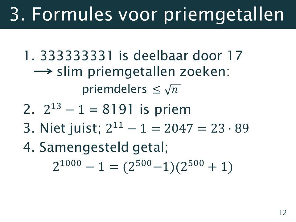 12 3. Formules voor priemgetallen