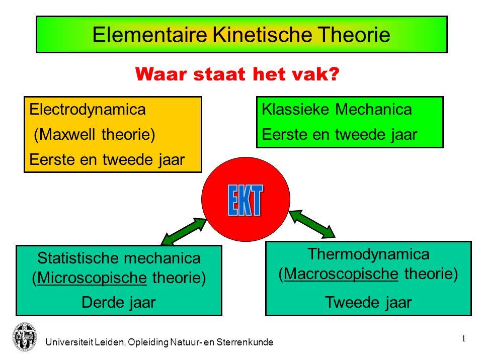 Universiteit Leiden, Opleiding Natuur- en Sterrenkunde 1 Elementaire Kinetische Theorie Electrodynamica (Maxwell theorie) Eerste en tweede jaar Klassieke Mechanica Eerste en tweede jaar Statistische mechanica (Microscopische theorie) Derde jaar Thermodynamica (Macroscopische theorie) Tweede jaar Waar staat het vak?