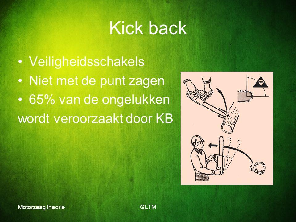 Motorzaag theorieGLTM Kick back Veiligheidsschakels Niet met de punt zagen 65% van de ongelukken wordt veroorzaakt door KB