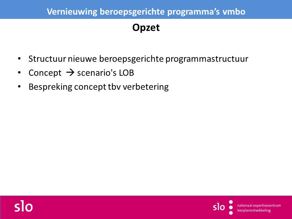 Opzet Structuur nieuwe beroepsgerichte programmastructuur Concept  scenario s LOB Bespreking concept tbv verbetering Vernieuwing beroepsgerichte programma's vmbo
