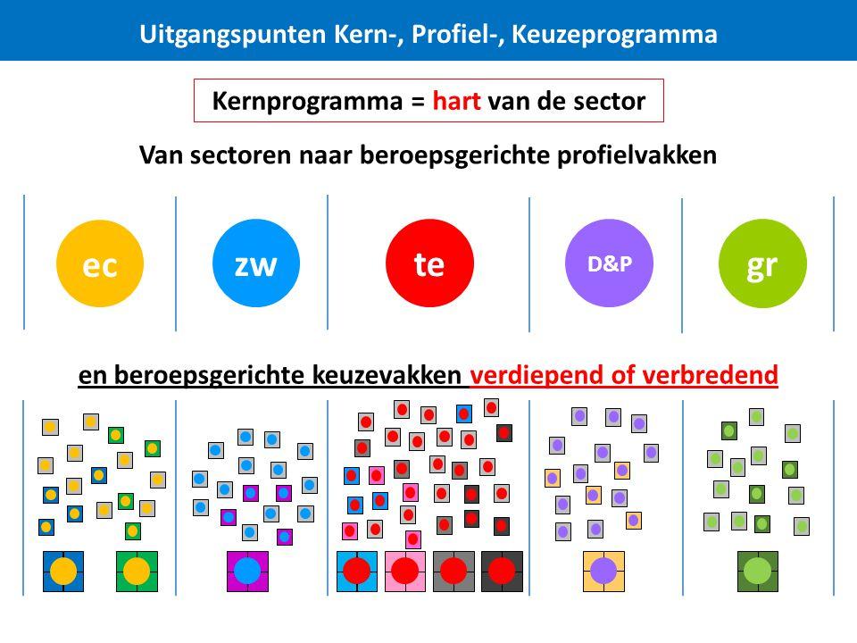 D&P tezw Uitgangspunten Kern-, Profiel-, Keuzeprogramma Van sectoren naar beroepsgerichte profielvakken ec en beroepsgerichte keuzevakken verdiepend of verbredend Kernprogramma = hart van de sector gr