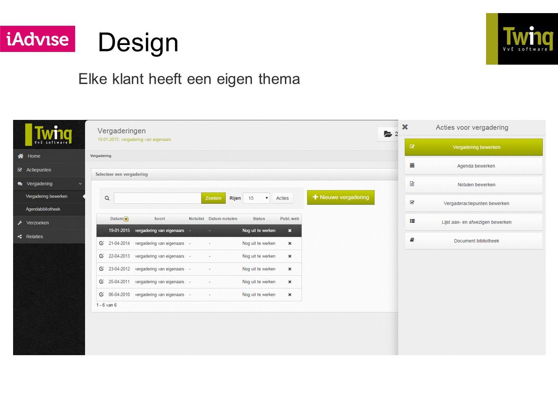 Design Elke klant heeft een eigen thema