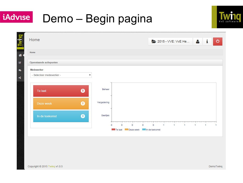 Demo – Begin pagina