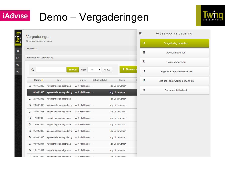 Demo – Vergaderingen