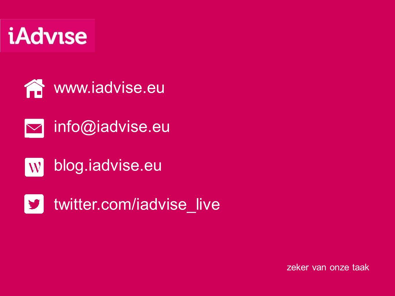 zeker van onze taak www.iadvise.eu info@iadvise.eu blog.iadvise.eu twitter.com/iadvise_live