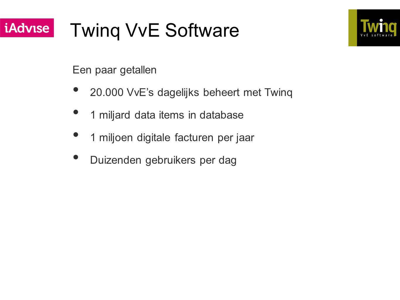 Twinq VvE Software Een paar getallen 20.000 VvE's dagelijks beheert met Twinq 1 miljard data items in database 1 miljoen digitale facturen per jaar Du