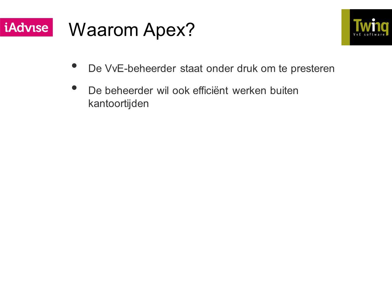 Waarom Apex? De VvE-beheerder staat onder druk om te presteren De beheerder wil ook efficiënt werken buiten kantoortijden