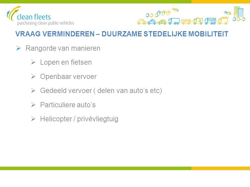 VRAAG VERMINDEREN – DUURZAME STEDELIJKE MOBILITEIT  Rangorde van manieren  Lopen en fietsen  Openbaar vervoer  Gedeeld vervoer ( delen van auto's