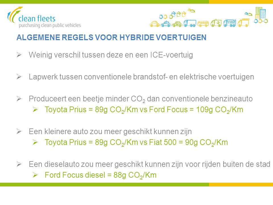 ALGEMENE REGELS VOOR HYBRIDE VOERTUIGEN  Weinig verschil tussen deze en een ICE-voertuig  Lapwerk tussen conventionele brandstof- en elektrische voe