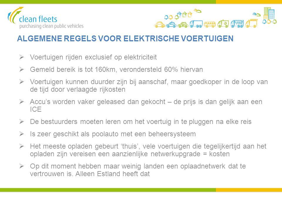 ALGEMENE REGELS VOOR ELEKTRISCHE VOERTUIGEN  Voertuigen rijden exclusief op elektriciteit  Gemeld bereik is tot 160km, verondersteld 60% hiervan  V