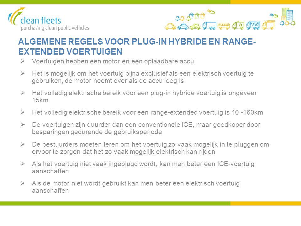 ALGEMENE REGELS VOOR PLUG-IN HYBRIDE EN RANGE- EXTENDED VOERTUIGEN  Voertuigen hebben een motor en een oplaadbare accu  Het is mogelijk om het voert