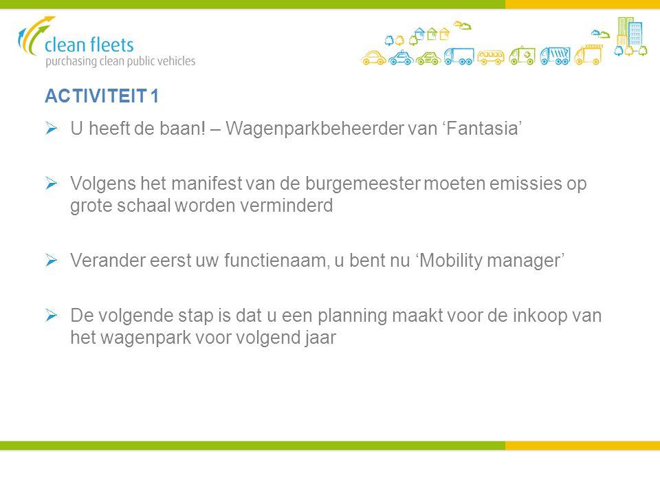 ACTIVITEIT 1  U heeft de baan! – Wagenparkbeheerder van 'Fantasia'  Volgens het manifest van de burgemeester moeten emissies op grote schaal worden