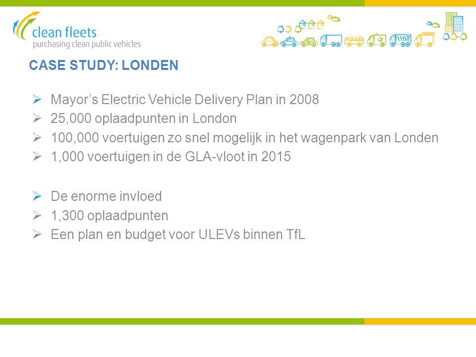 CASE STUDY: LONDEN  Mayor's Electric Vehicle Delivery Plan in 2008  25,000 oplaadpunten in London  100,000 voertuigen zo snel mogelijk in het wagen