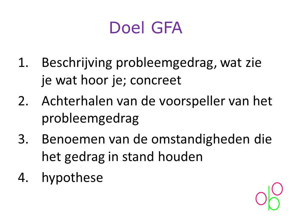 Doel GFA 1.Beschrijving probleemgedrag, wat zie je wat hoor je; concreet 2.Achterhalen van de voorspeller van het probleemgedrag 3.Benoemen van de omstandigheden die het gedrag in stand houden 4.hypothese