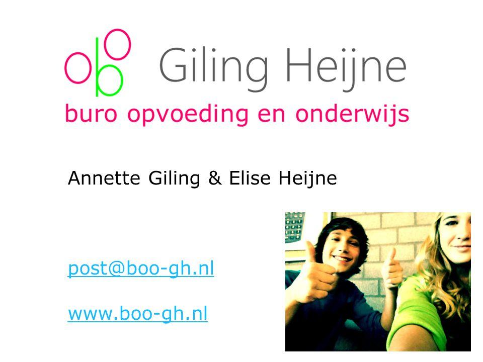 Annette Giling & Elise Heijne post@boo-gh.nl www.boo-gh.nl