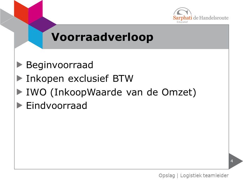 Beginvoorraad Inkopen exclusief BTW IWO (InkoopWaarde van de Omzet) Eindvoorraad 4 Opslag | Logistiek teamleider Voorraadverloop