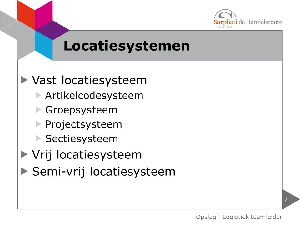 Vast locatiesysteem Artikelcodesysteem Groepsysteem Projectsysteem Sectiesysteem Vrij locatiesysteem Semi-vrij locatiesysteem 7 Opslag | Logistiek tea