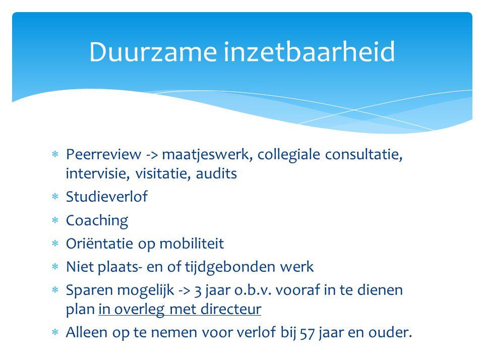 Peerreview -> maatjeswerk, collegiale consultatie, intervisie, visitatie, audits  Studieverlof  Coaching  Oriëntatie op mobiliteit  Niet plaats-