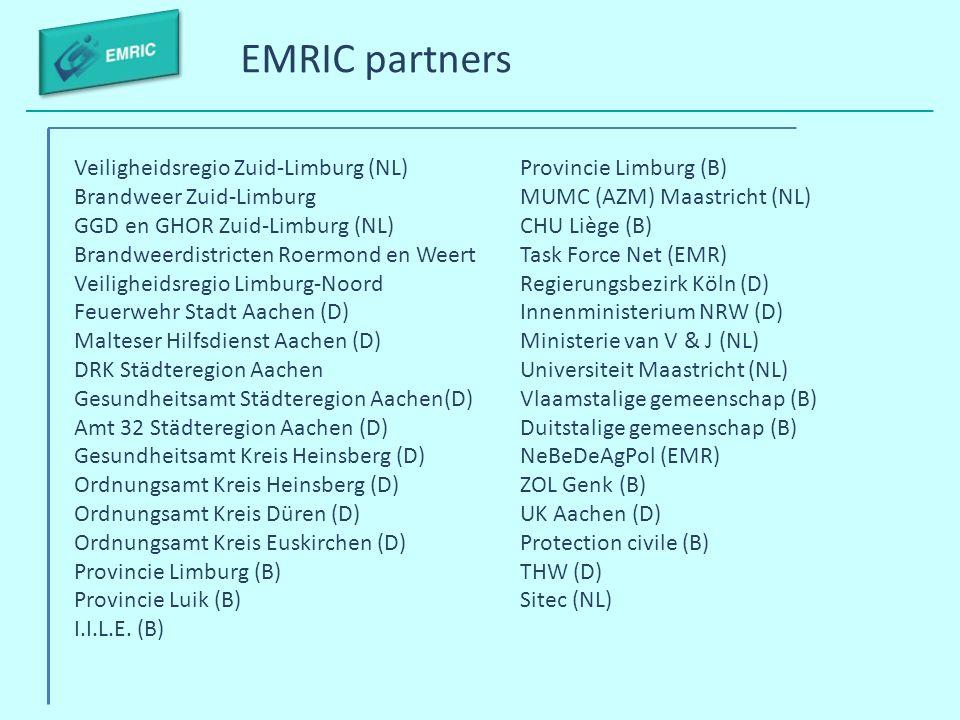 EMRIC partners Veiligheidsregio Zuid-Limburg (NL) Brandweer Zuid-Limburg GGD en GHOR Zuid-Limburg (NL) Brandweerdistricten Roermond en Weert Veilighei