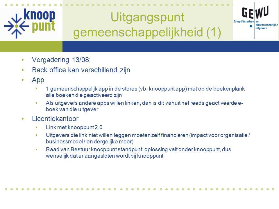 Uitgangspunt gemeenschappelijkheid (1) Vergadering 13/08: Back office kan verschillend zijn App 1 gemeenschappelijk app in de stores (vb.