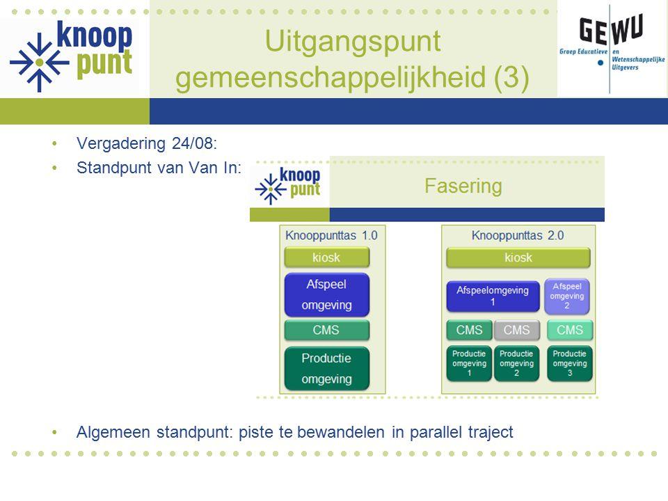 Uitgangspunt gemeenschappelijkheid (3) Vergadering 24/08: Standpunt van Van In: Algemeen standpunt: piste te bewandelen in parallel traject