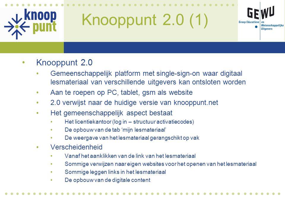 Knooppunt 2.0 (1) Knooppunt 2.0 Gemeenschappelijk platform met single-sign-on waar digitaal lesmateriaal van verschillende uitgevers kan ontsloten wor