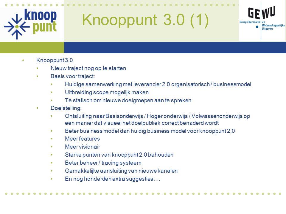 Knooppunt 3.0 (1) Knooppunt 3.0 Nieuw traject nog op te starten Basis voor traject: Huidige samenwerking met leverancier 2.0 organisatorisch / busines