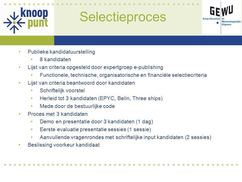 Selectieproces Publieke kandidatuurstelling 8 kandidaten Lijst van criteria opgesteld door expertgroep e-publishing Functionele, technische, organisat