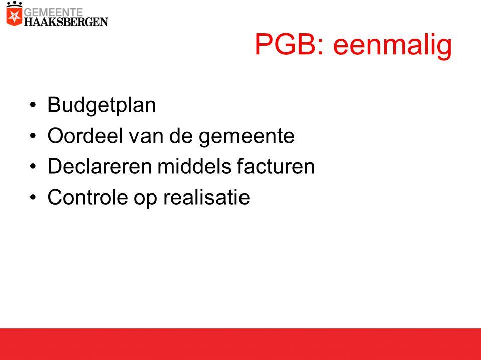 PGB: eenmalig Budgetplan Oordeel van de gemeente Declareren middels facturen Controle op realisatie
