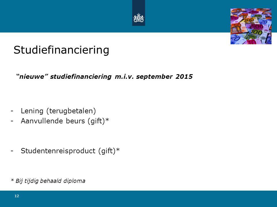 """12 """"nieuwe"""" studiefinanciering m.i.v. september 2015 -Lening (terugbetalen) -Aanvullende beurs (gift)* -Studentenreisproduct (gift)* * Bij tijdig beha"""