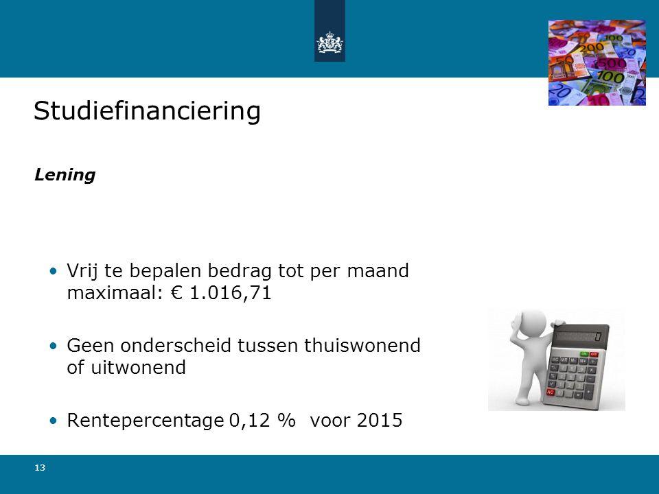 13 Vrij te bepalen bedrag tot per maand maximaal: € 1.016,71 Geen onderscheid tussen thuiswonend of uitwonend Rentepercentage 0,12 % voor 2015 Studief
