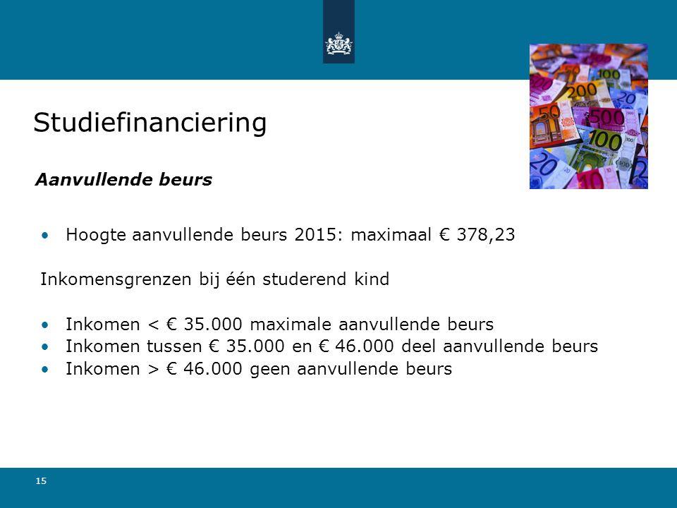 15 Hoogte aanvullende beurs 2015: maximaal € 378,23 Inkomensgrenzen bij één studerend kind Inkomen < € 35.000 maximale aanvullende beurs Inkomen tusse