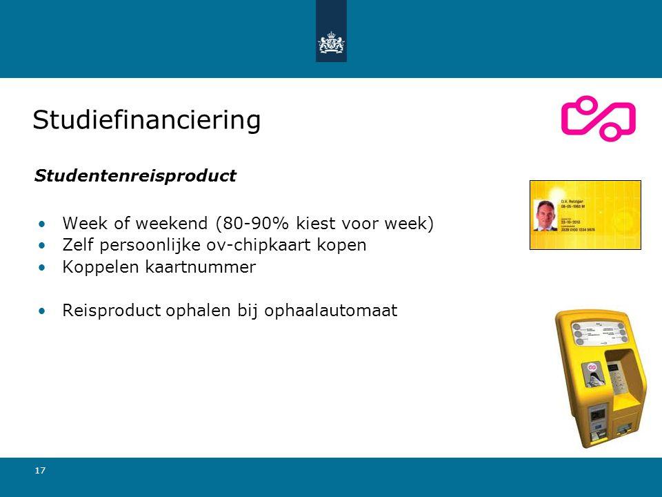 17 Week of weekend (80-90% kiest voor week) Zelf persoonlijke ov-chipkaart kopen Koppelen kaartnummer Reisproduct ophalen bij ophaalautomaat Studiefin