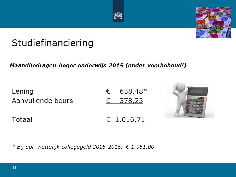 18 Maandbedragen hoger onderwijs 2015 (onder voorbehoud!) Lening € 638,48* Aanvullende beurs€ 378,23 Totaal € 1.016,71 * Bij opl. wettelijk collegegel