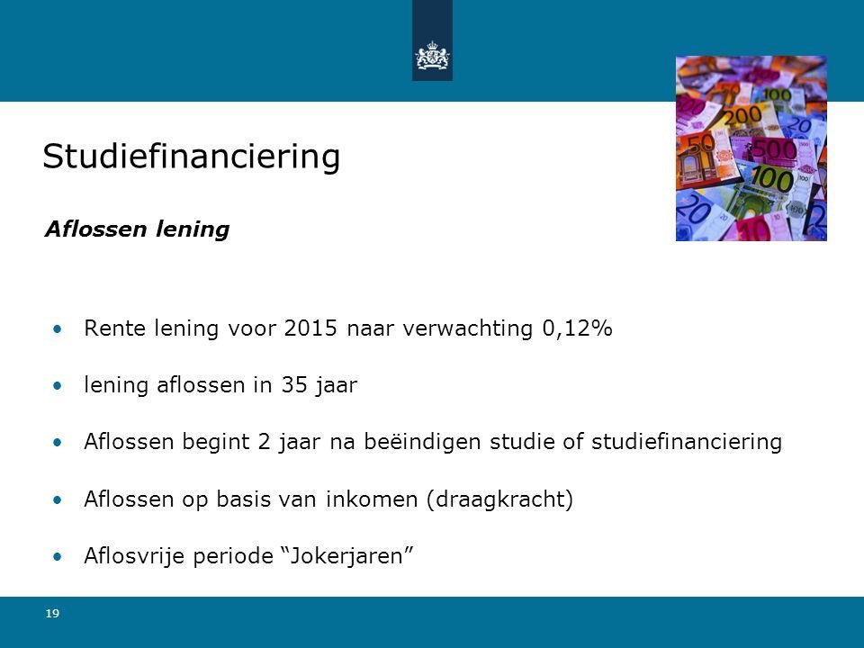 19 Rente lening voor 2015 naar verwachting 0,12% lening aflossen in 35 jaar Aflossen begint 2 jaar na beëindigen studie of studiefinanciering Aflossen