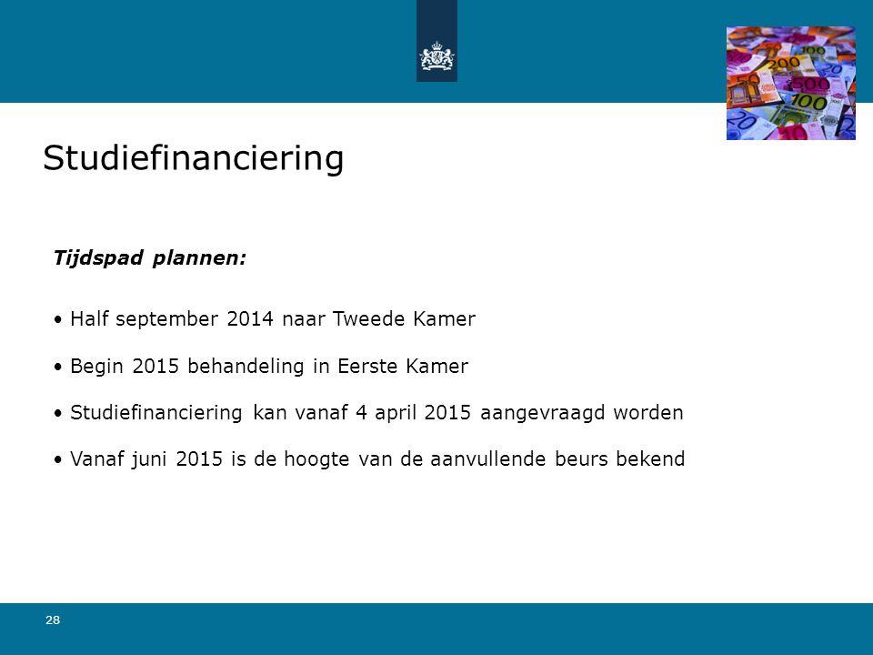 28 Studiefinanciering Tijdspad plannen: Half september 2014 naar Tweede Kamer Begin 2015 behandeling in Eerste Kamer Studiefinanciering kan vanaf 4 ap