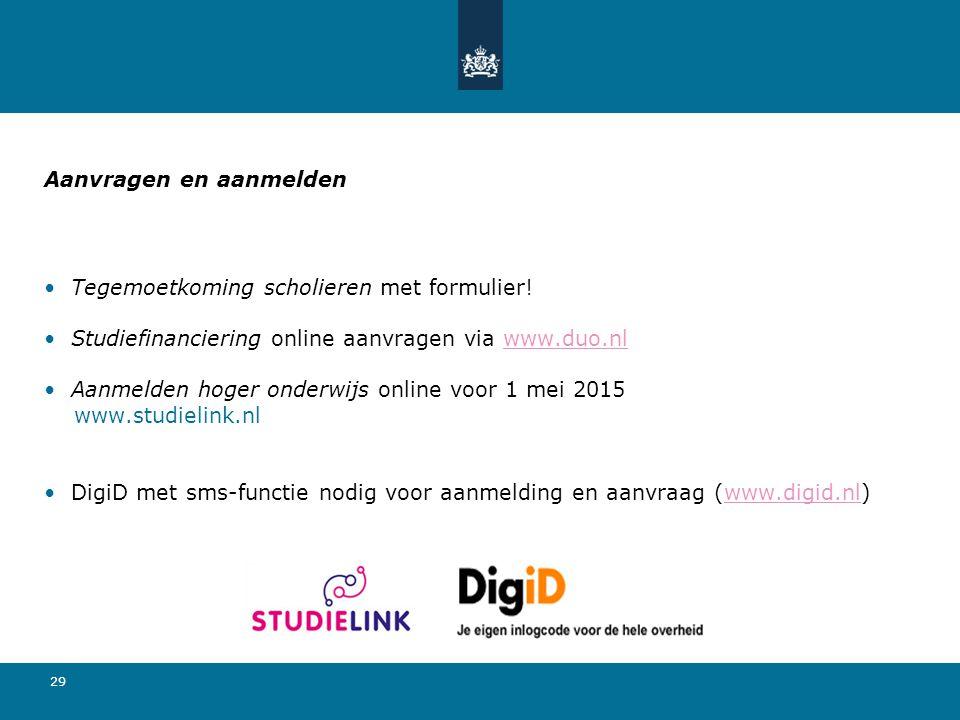 29 Aanvragen en aanmelden Tegemoetkoming scholieren met formulier! Studiefinanciering online aanvragen via www.duo.nlwww.duo.nl Aanmelden hoger onderw