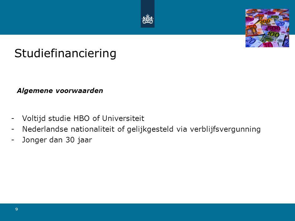 9 Algemene voorwaarden -Voltijd studie HBO of Universiteit -Nederlandse nationaliteit of gelijkgesteld via verblijfsvergunning -Jonger dan 30 jaar Stu