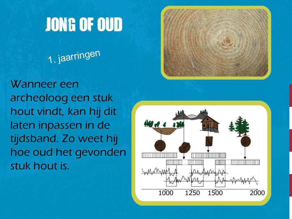 1. jaarringen Wanneer een archeoloog een stuk hout vindt, kan hij dit laten inpassen in de tijdsband. Zo weet hij hoe oud het gevonden stuk hout is.