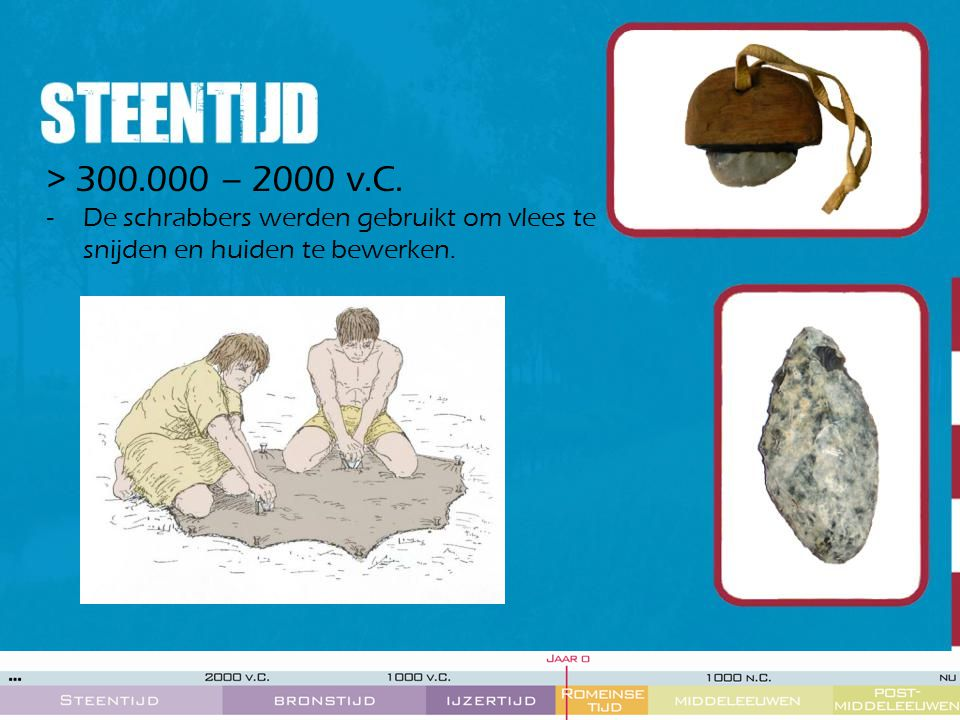 > 300.000 – 2000 v.C. -De schrabbers werden gebruikt om vlees te snijden en huiden te bewerken.