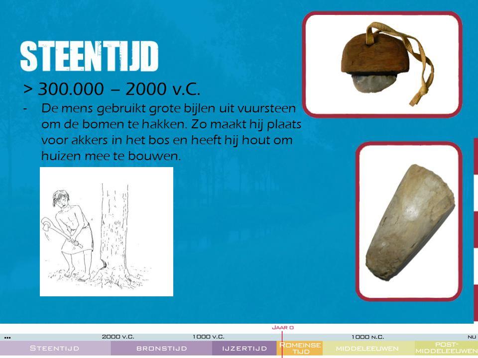 > 300.000 – 2000 v.C. -De mens gebruikt grote bijlen uit vuursteen om de bomen te hakken. Zo maakt hij plaats voor akkers in het bos en heeft hij hout