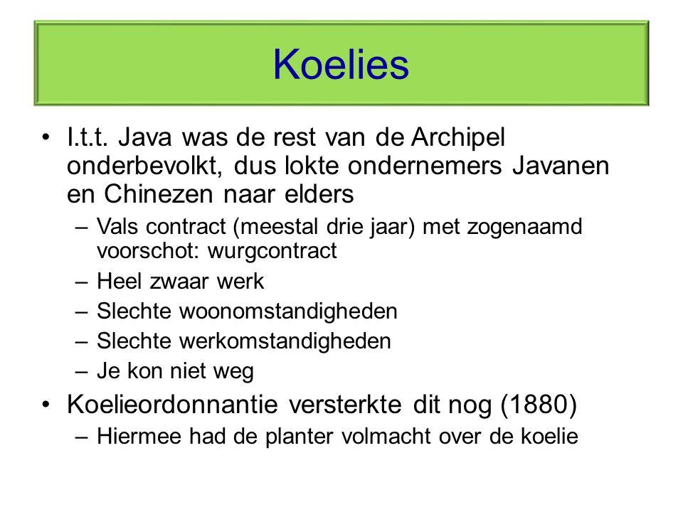 Koelies I.t.t. Java was de rest van de Archipel onderbevolkt, dus lokte ondernemers Javanen en Chinezen naar elders –Vals contract (meestal drie jaar)