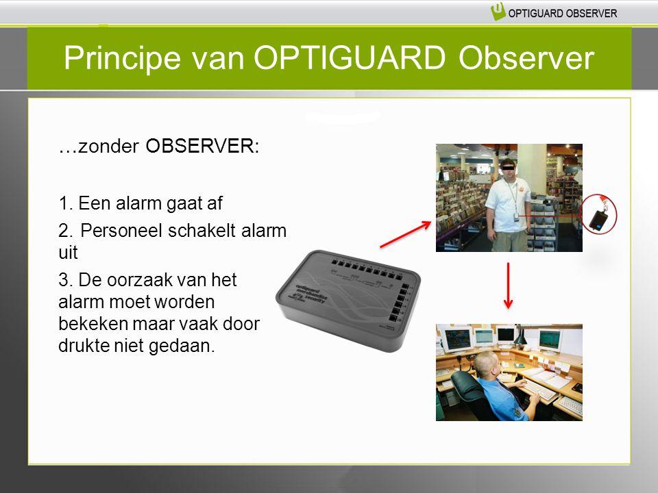 Principe van OPTIGUARD Observer …zonder OBSERVER: 1. Een alarm gaat af 2. Personeel schakelt alarm uit 3. De oorzaak van het alarm moet worden bekeken