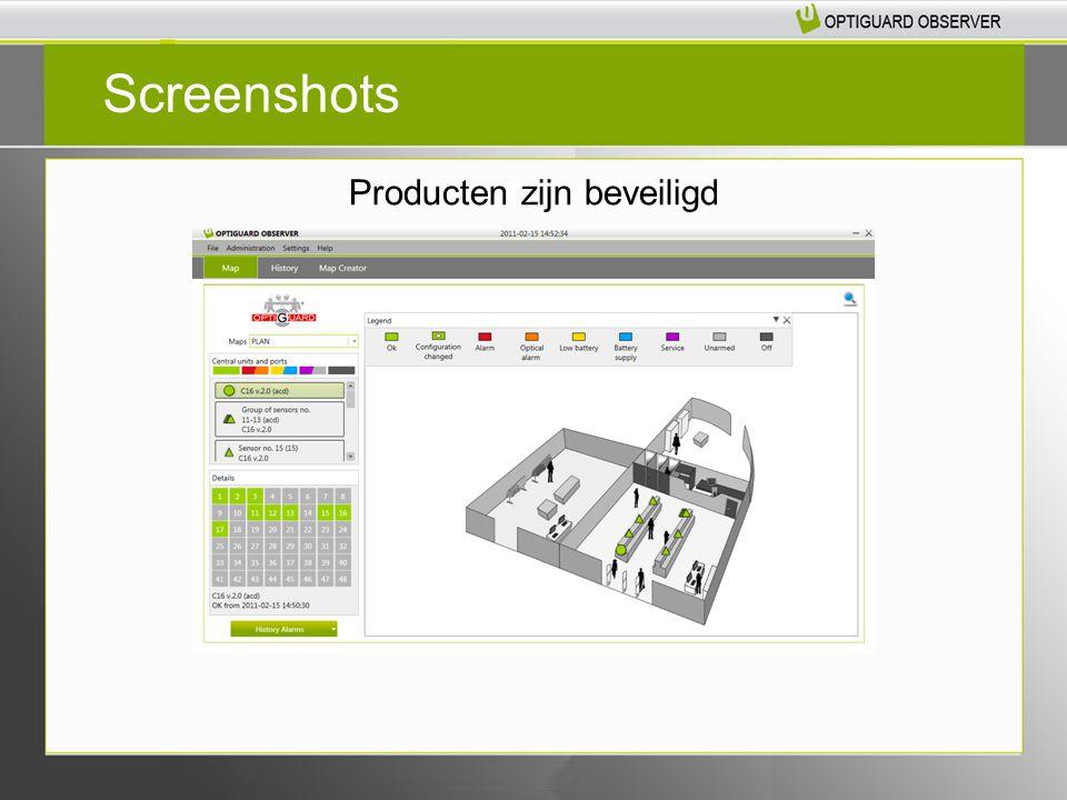 Screenshots Producten zijn beveiligd