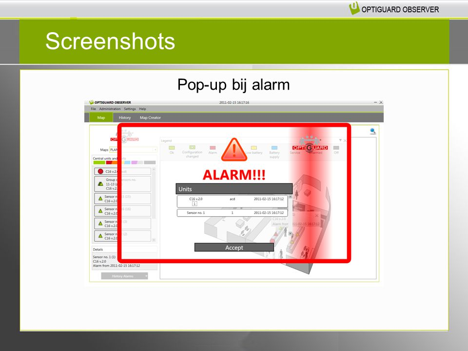 Pop-up bij alarm Screenshots